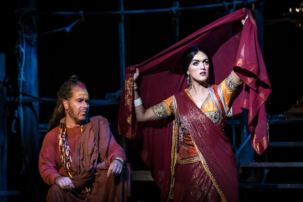 """LONDON, UK, 17 October, 2016.  James Creswell (left, as """"Nourabad"""") and Claudia Boyle (right, as """"Leila"""") rehearse for the revival of director Penny Woolcock's production of Bizet's opera """"The Pearl Fishers"""" at the London Coliseum for the English National Opera.  The production opens on 19 October."""