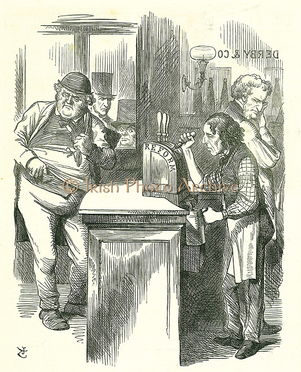The Honest Pot Boy': Reform of Parliament - extension of the franchise. Disraeli serving up Reform to John Bull watched by his parliamentary opposition.  He introduced and carried his Reform Bill.  Tenniel cartoon from 'Punch', London, 16 March 1867.