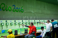 20160909 Copyright onEdition 2016©<br /> Free for editorial use image, please credit: onEdition<br /> <br /> Shooter Stewart Nangle, P1 - 10m Air Pistol SH1 - Men, from Bacup, competing for ParalympicsGB at the Rio Paralympic Games 2016.<br />  <br /> ParalympicsGB is the name for the Great Britain and Northern Ireland Paralympic Team that competes at the summer and winter Paralympic Games. The Team is selected and managed by the British Paralympic Association, in conjunction with the national governing bodies, and is made up of the best sportsmen and women who compete in the 22 summer and 4 winter sports on the Paralympic Programme.<br /> <br /> For additional Images please visit: http://www.w-w-i.com/paralympicsgb_2016/<br /> <br /> For more information please contact the press office via press@paralympics.org.uk or on +44 (0) 7717 587 055<br /> <br /> If you require a higher resolution image or you have any other onEdition photographic enquiries, please contact onEdition on 0845 900 2 900 or email info@onEdition.com<br /> This image is copyright onEdition 2016©.<br /> <br /> This image has been supplied by onEdition and must be credited onEdition. The author is asserting his full Moral rights in relation to the publication of this image. Rights for onward transmission of any image or file is not granted or implied. Changing or deleting Copyright information is illegal as specified in the Copyright, Design and Patents Act 1988. If you are in any way unsure of your right to publish this image please contact onEdition on 0845 900 2 900 or email info@onEdition.com