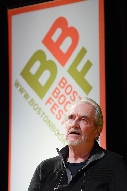 Wes Craven at the Writing Terror: An Exploration of Fear event opening the Boston Book Festival in the Back Bay Events Center.