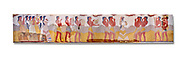 The Minoan 'Procession Fresco', wall art from the South Prpylaeum, Knossos Palace, 1500-1400 BC . Heraklion Archaeological Museum.  White Background. <br /> <br /> This latrge Minoan fresco of many figure in procession would have decorated the corridor between the West Porch and the South Propylaeum of Knossos Palace. Both sides of the corridor were painted with hundreds of male and femal;e figures carrying precious utensils and vessels, probably depicting gift bearers to the ruler of the Palace. The composition is much like those found in the Palaces and tombs of Egypt and the near east at the time. Neopalatial final period. .<br /> <br /> If you prefer to buy from our ALAMY PHOTO LIBRARY  Collection visit : https://www.alamy.com/portfolio/paul-williams-funkystock/minoan-art-artefacts.html . Type -   Heraklion   - into the LOWER SEARCH WITHIN GALLERY box. Refine search by adding background colour, place, museum etc<br /> <br /> Visit our MINOAN ART PHOTO COLLECTIONS for more photos to download  as wall art prints https://funkystock.photoshelter.com/gallery-collection/Ancient-Minoans-Art-Artefacts-Antiquities-Historic-Places-Pictures-Images-of/C0000ricT2SU_M9w