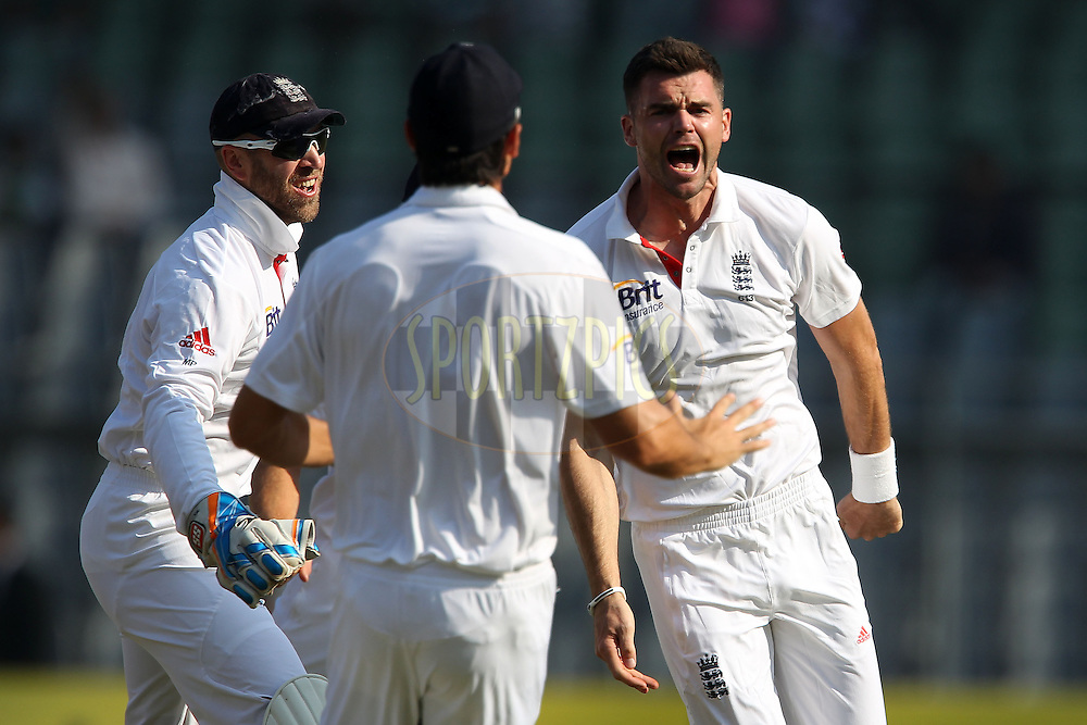 James Anderson of England celebrates the wicket of Gautam Gambhir of India with the second ball of the match during day 1 of the 2nd Airtel Test match between India and England held at the Wankhede Stadium in Mumbai, India on the 23rd November 2012...Photo by Ron Gaunt/ BCCI/ SPORTZPICS..Use of this image is subject to the terms and conditions as outlined by the BCCI. These terms can be found by following this link:..http://www.sportzpics.co.za/image/I0000SoRagM2cIEc