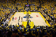 Cleveland Cavaliers guard Kyrie Irving (2) shoots a jumper against the Golden State Warriors during Game 5 of the NBA Finals at Oracle Arena in Oakland, Calif., on June 12, 2017. (Stan Olszewski/Special to S.F. Examiner)