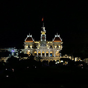 Ho Chi Minh City Hall at night time in Ho Chi Minh City, Vietnam. 3rd March 2012. Photo Tim Clayton