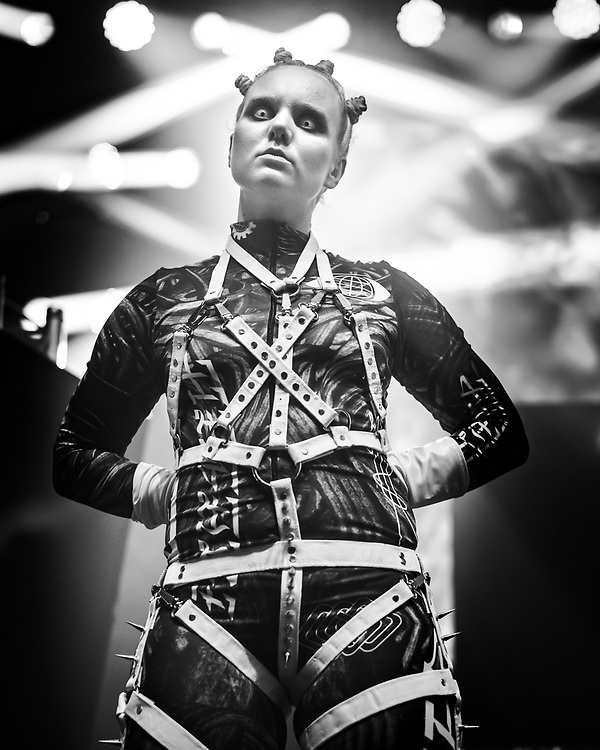 A dancer of Icelandic techno and industrial band Hatari at Iceland Airwaves