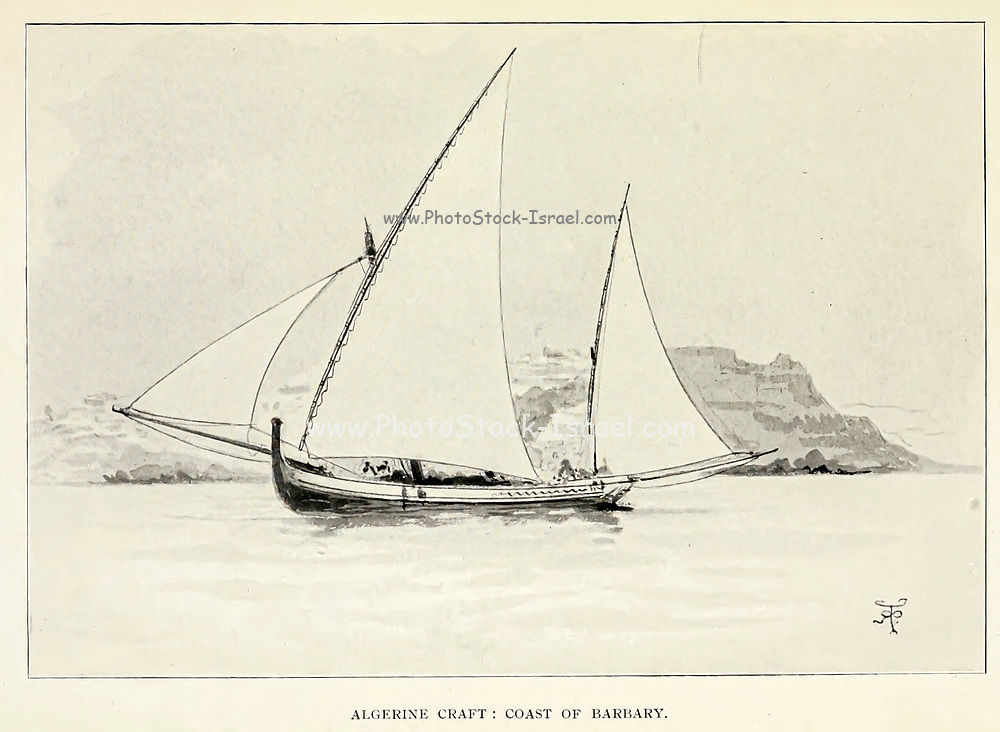 Sketch of an Algerine craft on the Coast of Berbary from the book ' Pen and pencil sketches of shipping and craft all round the world ' by Pritchett, Robert Taylor Published in London in 1899