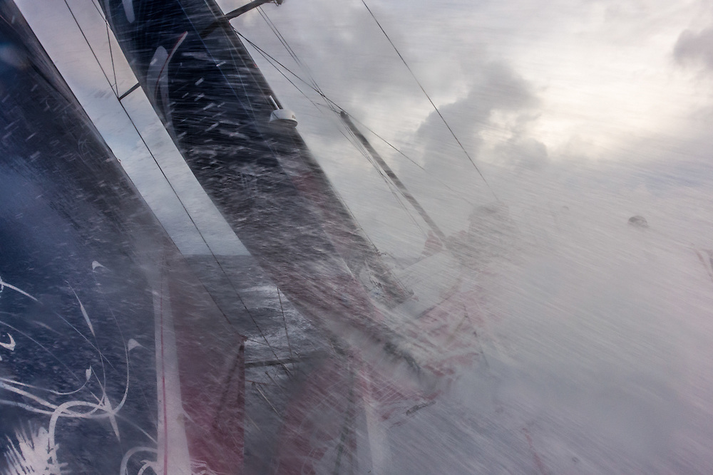 April 22, 2015. Leg 6 to Newport onboard Team SCA. Day 3. One of many waves crash over the bow of Team SCA.