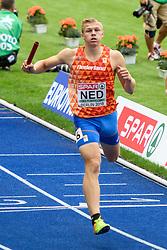 Nick Smidt finisht op de 4xc400m estafette bij het EK atletiek in Berlijn op 10-8-2018; 4e in de serie maar net niet door naar de finale (tenzij er nog een ploeg wordt gediswalificeerd omdat er een gele vlag omhoog ging)