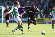 Luke Ayling of Yeovil Town challenges Royston Drenthe of Reading (r) during the Skybet championship match, Yeovil Town v Reading at Huish Park in Yeovil on Saturday 31st August 2013. <br /> Picture by Sophie Elbourn, Andrew Orchard sports photography,
