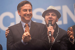 The half-Scottish governor of Lower Saxony, David McAllister signing his campaign song during an election campaign event at Hildesheim, Germany..©Michael Schofield.
