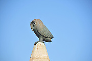 Greece, Rhodes, Rhodes City, The old town of Rhodes, A statue of an owl on a fountain in Hippokratous Square