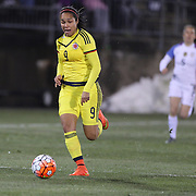 Orianica Velasquez, Colombia, in action during the USA Vs Colombia, Women's International friendly football match at the Pratt & Whitney Stadium, East Hartford, Connecticut, USA. 6th April 2016. Photo Tim Clayton