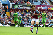 Rudy Gestede of Aston Villa in action. Barclays Premier League match, Aston Villa v Sunderland at Villa Park in Birmingham, Midlands on Saturday 29th August  2015.<br /> pic by Andrew Orchard, Andrew Orchard sports photography.
