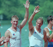 Lucerne, Switzerland. 1995 FISA WC III, Lake Rotsee, Lucerne,<br /> left. GBR M2-, Matthew PINSENT and Steve REDGRAVE, awards dock.<br /> [Mandatory Credit. Peter SPURRIER/Intersport Images]<br /> <br /> Image scanned from Colour Negative