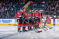 KELOWNA, CANADA - NOVEMBER 25: The Pepsi Player lines up on the blue line with Braydyn Chizen #22, Gordie Ballhorn #4, Ted Brennan #10, Conner Bruggen-Cate #20 and Kyle Topping #24 of the Kelowna Rockets against the Medicine Hat Tigers on November 25, 2017 at Prospera Place in Kelowna, British Columbia, Canada.  (Photo by Marissa Baecker/Shoot the Breeze)  *** Local Caption ***