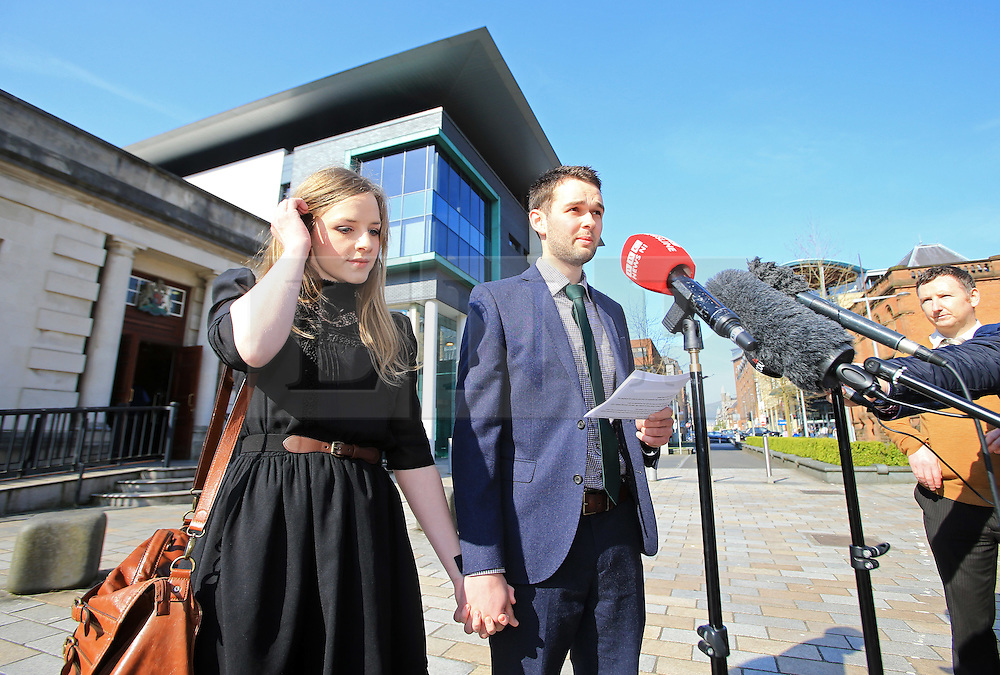 "© Licensed to London News Pictures. 9/05/2016. Belfast, Northern Ireland, UK.  Amy and Daniel McArthur from Ashers Baking Company talk to reporters as they arrive at Belfast High Court for the start of an Appeal hearing over the so called 'gay marriage cake row'. The legal appeal by Ashers Baking Company in the case is to be heard over two days. In May last year a judge at Belfast County Court ruled that the bakery had acted unlawfully. The court ordered Ashers to pay £500 damages after Judge Isobel Brownlie said the customer had been treated ""less favourably"" contrary to the law and the bakery had breached political and sexual orientation discrimination regulations. But the McArthur family who own and run Ashers decided to challenge the ruling following consultations with their legal advisors. The family has been given the full support of The Christian Institute, which has funded their defence costs. The legal case followed a decision in May 2014 by Ashers to decline an order placed at its Belfast store by a gay rights activist who asked for a cake featuring the Sesame Street puppets, Bert and Ernie, and the campaign slogan, 'Support Gay Marriage'. The customer also wanted the cake to feature the logo of a Belfast-based campaign group QueerSpace. Ashers, owned by Colin and Karen McArthur, refused to make the cake because it carried a message contrary to the family's firmly-held Christian beliefs. They were supported by their son Daniel, the General Manager of the company. But the Equality Commission for Northern Ireland (ECNI) launched a civil action against the family-run bakery, claiming its actions violated equality laws in Northern Ireland and alleging discrimination under two anti-discrimination statutes – The Equality Act (Sexual Orientation) Regulations (NI) 2006 and The Fair Employment and Treatment (NI) Order 1998. Photo credit : Paul McErlane/LNP"