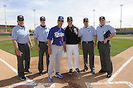 GLENDALE, AZ - MARCH 05:  Manager Robin Ventura #23 of the Chicago White Sox poses for a photo with Dodgers manager Don Mattingly prior to the game against the Los Angeles Dodgers on March 5, 2012 at The Ballpark at Camelback Ranch in Glendale, Arizona. The Dodgers defeated the White Sox 6-4.  (Photo by Ron Vesely)  Subject:  Robin Ventura;Don Mattingly