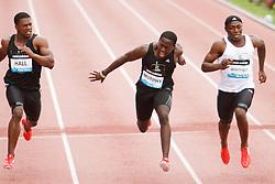 Boys Dream 100 meters, finish line Hall, Murphy, Whitfield (winner)