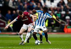 Declan Rice of West Ham United Aaron Rowe of Huddersfield Town  - Mandatory by-line: Phil Chaplin/JMP - 16/03/2019 - FOOTBALL - London Stadium - London, England - West Ham United v Huddersfield Town - Premier League