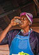 woman sells food at a stall Viñales Valley, (Vinales) Cuba