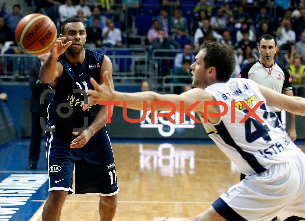 Anadolu Efes's Joshua Shipp (L) during their Turkish Basketball league derby match Fenerbahce Ulker between Anadolu Efes at the Ulker Sports Arena in Istanbul, Turkey, Monday, April 29, 2013. Photo by Aykut AKICI/TURKPIX