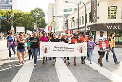 October 6, 2018 - Hundreds of people marched through the streets of Atlanta to protest the confirmation of Brett Kavanaugh to the U.S. Supreme Court. (Credit Image: © Steve Eberhardt/ZUMA Wire)
