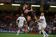 James Hook of Wales(c) claims a high ball from Mike Tindall of Eng (r)Wales v England, international rugby, World cup warm up match at Millennium Stadium in Cardiff on Sat 13th August 2011. Pic By Andrew Orchard, Andrew Orchard sports photography,