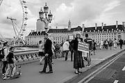 One week before the U.K.  voted for Brexit, Leave Campaigner, Westminster Bridge, London. 15 June 2016