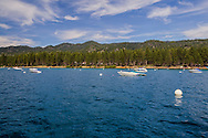 Boats anchored offshore at Zephyr Cove, Lake Tahoe, Nevada