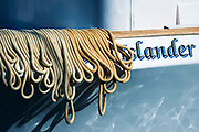 Ropes drying on the side of a boat, Ventura, California USA