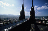 France. massif central. Clermont Ferrand. The cathedral , the old city /  / view from the tower    France  /   La cathedrale , la vieille ville  vue depuis la tour  Clermont Ferrand  France   /  / L005085  /  R20707  /  P114787