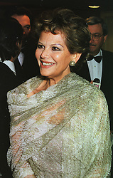 Italian actress CLAUDIA CARDINALE, at a dinner in London on 23rd February 1999.MOR 44
