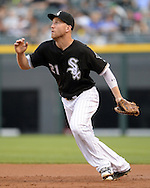 CHICAGO - JUNE 24:  Todd Frazier #21 of the Chicago White Sox fields while playing first base against the Toronto Blue Jays on June 24, 2016 at U.S. Cellular Field in Chicago, Illinois.  The White Sox defeated the Blue Jays 3-2.  (Photo by Ron Vesely) Subject:    Todd Frazier