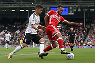 Marvin Johnson of Middlesbrough (R) battles with Rui Fonte of Fulham (L). EFL Skybet championship match, Fulham v Middlesbrough at Craven Cottage in London on Saturday 23rd September 2017<br /> pic by Steffan Bowen, Andrew Orchard sports photography.