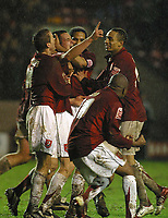 Photo: Dave Linney.<br />Walsall v Bristol Rovers. Coca Cola League 2. 30/12/2006. Walsall's  Scott Dann(Centre) makes it 2-1<br />to Walsall.