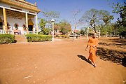 16 MARCH 2006 - KAMPONG CHAM, KAMPONG CHAM, CAMBODIA: A Buddhist monk at Wat Hanchey, a pre Angkorian temple complex above the Mekong River near the city of Kampong Cham in central Cambodia. Photo by Jack Kurtz / ZUMA Press