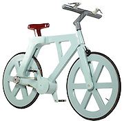 An unlikely form of transport: The £10 cardboard bicycle that doesn't get soggy in the rain<br /> <br /> A bicycle made of cardboard may seem an unlikely form of transport - but one inventor claims to have developed one that costs just £10 to make.<br /> By folding over sheets to double their strength, he claims the machine is durable, waterproof and costs very little to produce.<br /> Everything apart from the brakes and chain is cardboard - including the seat. It is covered with a waterproof resin then painted.<br /> <br /> That means it could become a cheap form of transport in rural Third World regions as well as being the ultimate green machine.<br /> <br /> Israeli-based engineer Izhar Gafni now has financial backing from a company called ERB which is an active partner in managing all the business and financial aspects of this project.<br /> <br /> Izhar got the idea after he heard about a man who had built a cardboard canoe.<br /> <br /> He said thinking about a canoe which was waterproof and could hold a man, made him imagine a bike. He made a prototype able to support a rider's weight and able to be pedaled and steered just like a normal machine, But he admitted: 'It looked like a packing case on wheels. <br /> Not a bicycle.' He want back to the drawing board and came up with his finished model.<br /> He said: 'Like Henry Ford who made the car available to anybody, this bike is going to be cheap and available to any child in the world, including children in Africa who walk dozens of miles to school every day.'<br /> ©Exclusivepix