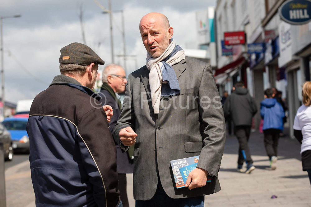 London Member of European Parliament MEP candidate for the Brexit Party, Simon Marcus canvasses for the upcoming European elections on the street in Dagenham Heathway, London, England on May 04, 2019.  Britain must hold European elections on May 23 or leave the European Union with no deal on June 01 after Brexit was delayed until  October 31 2019 after Prime Minister, Theresa May failed to get her Brexit deal approved by Parliament.