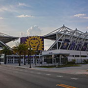 Exploria Soccer Stadium and the surrounding neighborhood sits empty as the Major League Soccer season announced it would be extremely unlikely for play to resume in mid May as planned, due to the ongoing Covid-19 pandemic on Tuesday, April 15, 2020 in Orlando, Florida. (Alex Menendez via AP)