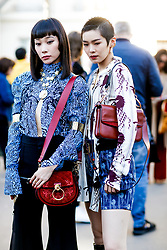 Street style, Mademoiselle Yulia and Chiaki Hatakeyama arriving at Chloe spring summer 2019 ready-to-wear show, held at Maison de la Radio, in Paris, France, on September 27th, 2018. Photo by Marie-Paola Bertrand-Hillion/ABACAPRESS.COM
