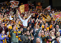 Football - Scottish Cup Semi-Final - Motherwell vs. St. Johnstone.<br /> Jubilant Motherwell fans at Hampden Park