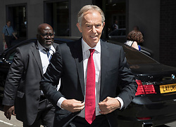 © Licensed to London News Pictures. 27/06/2018. London, UK. Former Prime Minister Tony Blair arrives at Chatham House to make a speech on Brexit and globalisation. Photo credit: Peter Macdiarmid/LNP