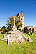 Church of Saint Andrew and medieval churchyard standing cross, Chew Magna, Somerset, England, UK