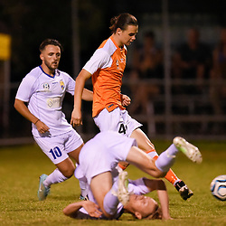 BRISBANE, AUSTRALIA - FEBRUARY 10: Aaron Reardon of the Roar passes the ball during the NPL Queensland Senior Mens Round 2 match between Gold Coast United and Brisbane Roar Youth at Station Reserve on February 10, 2018 in Brisbane, Australia. (Photo by Football Click / Patrick Kearney)
