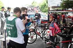 Coryn Rivera (USA) of Team Sunweb is being interviewed before Stage 2 of 2019 OVO Women's Tour, a 62.5 km road race starting and finishing in the Kent Cyclopark in Gravesend, United Kingdom on June 11, 2019. Photo by Balint Hamvas/velofocus.com
