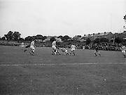 21/08/1966<br /> 08/21/1966<br /> 21 August 1966<br /> St. Patrick's Athletic v Waterford at Richmond Park, Dublin. Waterford forward Lynch is surrounded by St. Pats backs Dowling?, O'Reilly and Campbell.