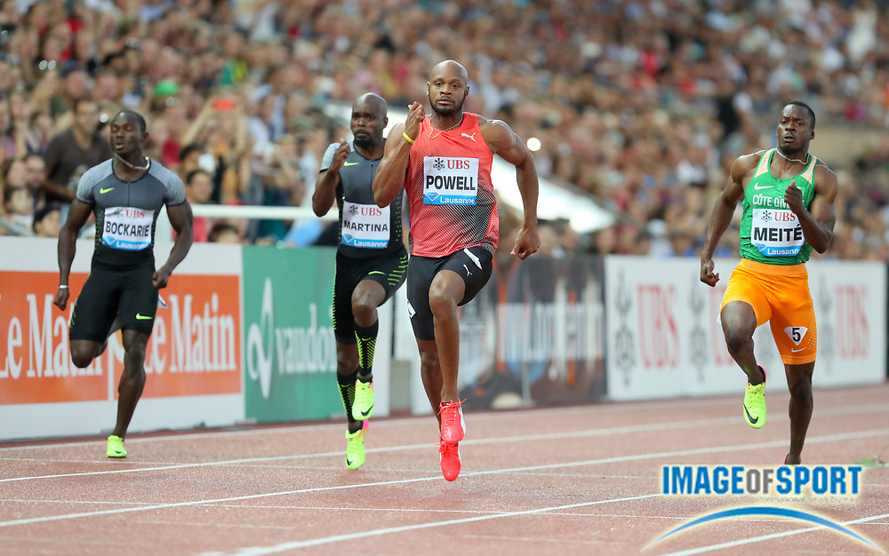 Aug 25, 2016; Lausanne, Switzerland; Asafa Powell (JAM) defeats Ben Yousef Meite (CIV) to win the 100m in 9.96 during the 2016 Athletissima in an IAAF Diamond League meeting at Stade Olympique de la Pontaise. Photo by Jiro Mochizuki