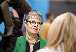 © Licensed to London News Pictures. 13/12/2019. Stroud, Gloucestershire, UK. General Election 2019; MOLLY SCOTT CATO, Green Party candidate, at the election count for the Stroud constituency which is a tight marginal seat between Labour and the Conservatives. At the last parliamentary election in 2017 the winning majority for the Labour candidate David Drew was 687. Photo credit: Simon Chapman/LNP.