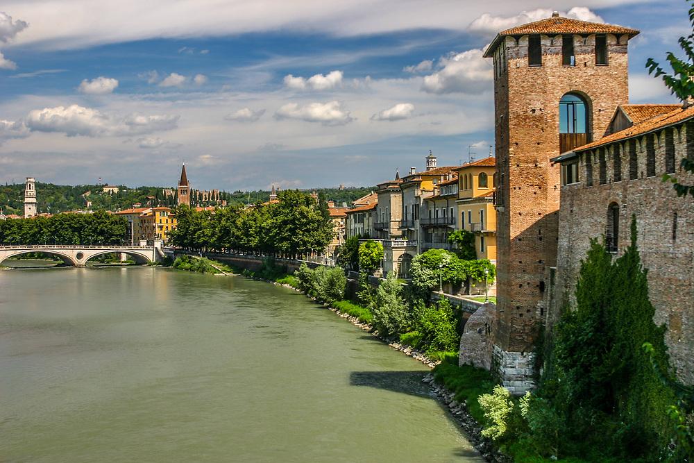 The tower of Castelvecchio castle in Verona, Italy.