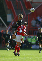Photo: Jo Caird<br />Charlton v Manchester United at The Valley.<br />13/09/2003.<br />Ruud van Nistelrooy heads over Chris Perry